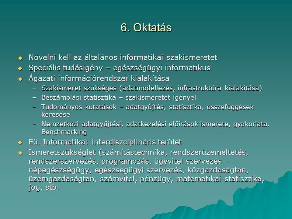 6. Oktatás  Növelni kell az általános informatikai szakismeretet  Speciális tudásigény – egészségügyi informatikus  Ágazati információrendszer kial