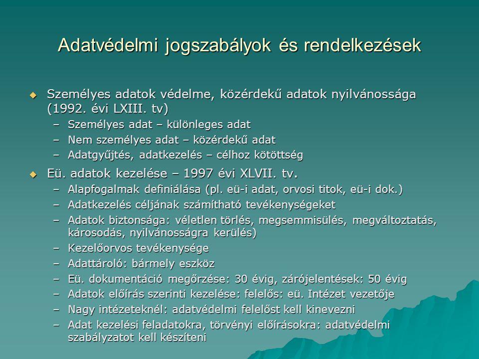 Adatvédelmi jogszabályok és rendelkezések  Személyes adatok védelme, közérdekű adatok nyilvánossága (1992. évi LXIII. tv) –Személyes adat – különlege