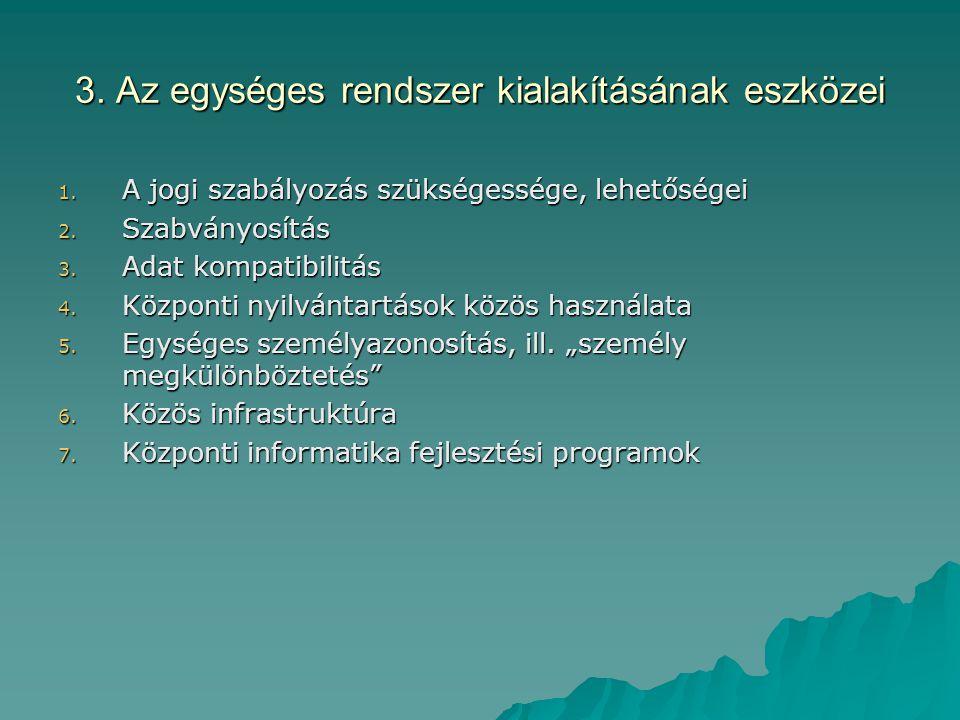 3. Az egységes rendszer kialakításának eszközei 1. A jogi szabályozás szükségessége, lehetőségei 2. Szabványosítás 3. Adat kompatibilitás 4. Központi