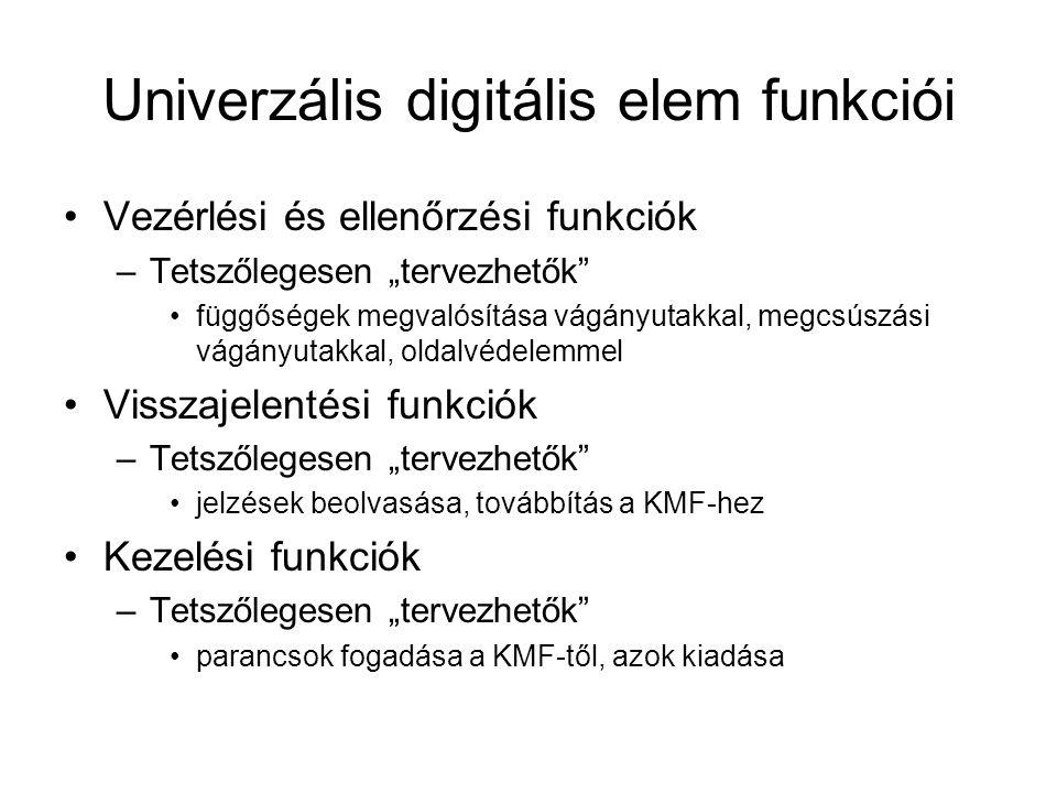 """Univerzális digitális elem funkciói Vezérlési és ellenőrzési funkciók –Tetszőlegesen """"tervezhetők"""" függőségek megvalósítása vágányutakkal, megcsúszási"""