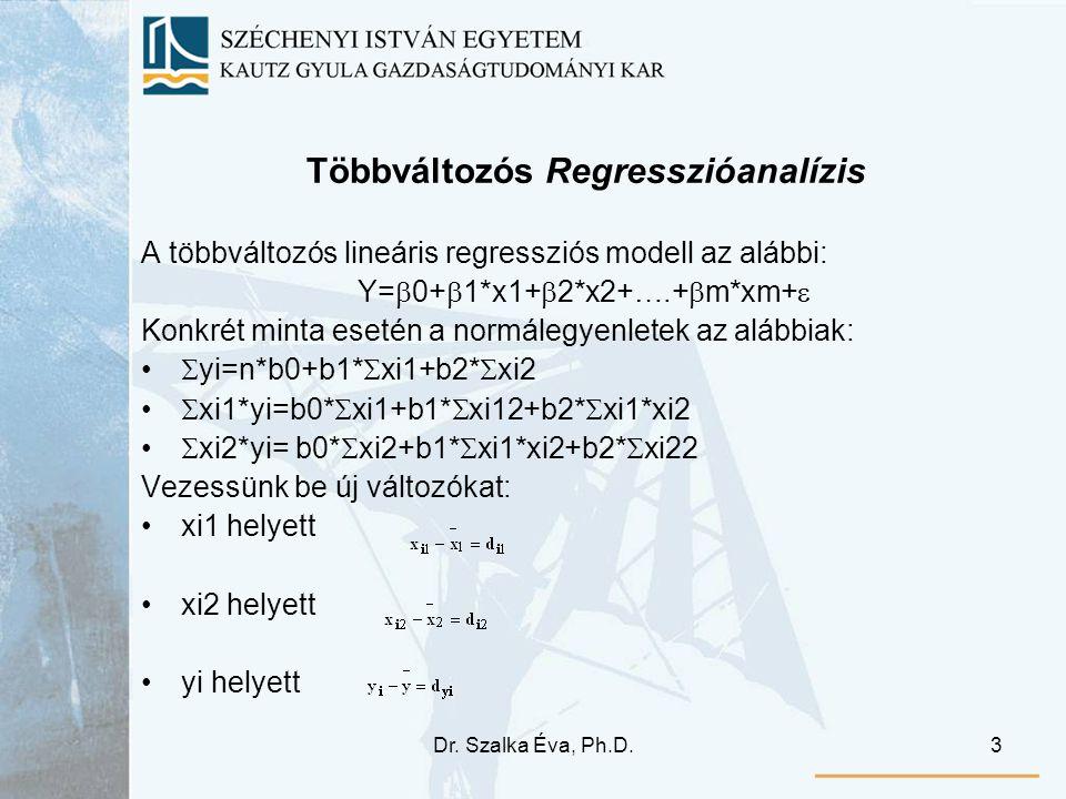 Dr. Szalka Éva, Ph.D.3 Többváltozós Regresszióanalízis A többváltozós lineáris regressziós modell az alábbi: Y=  0+  1*x1+  2*x2+….+  m*xm+  Konk