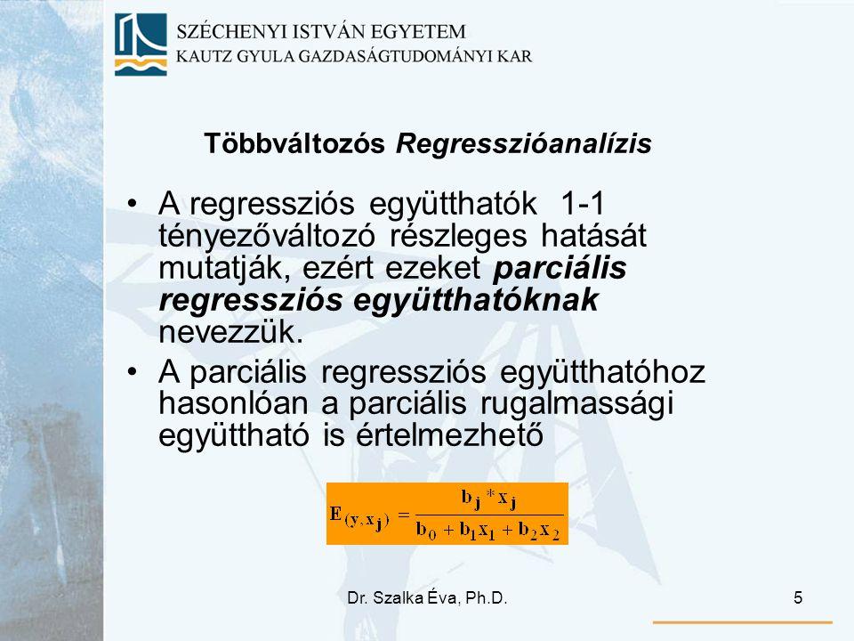 Dr. Szalka Éva, Ph.D.5 Többváltozós Regresszióanalízis A regressziós együtthatók 1-1 tényezőváltozó részleges hatását mutatják, ezért ezeket parciális