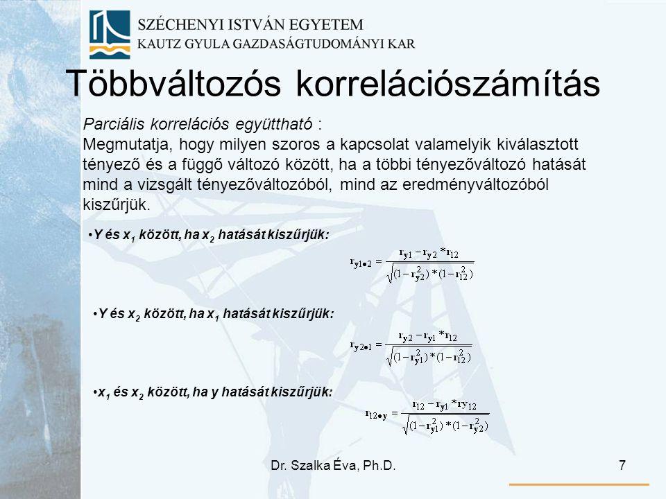 Dr. Szalka Éva, Ph.D.8 Többváltozós korrelációszámítás Többszörös korrelációs együttható