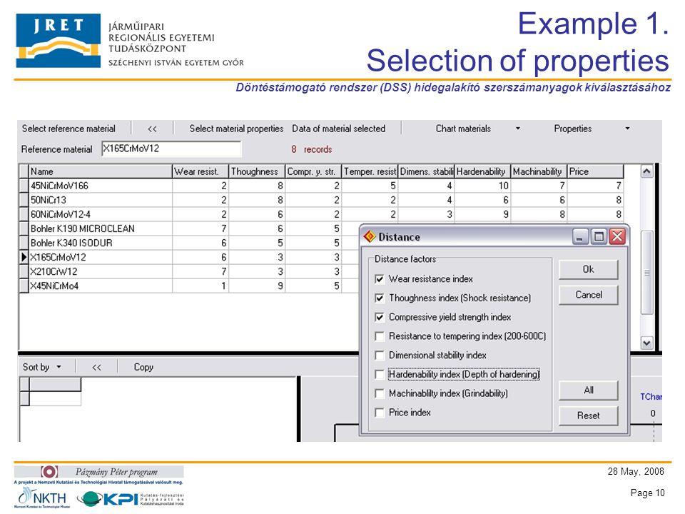Döntéstámogató rendszer (DSS) hidegalakító szerszámanyagok kiválasztásához 28 May, 2008 Page 10 Example 1.