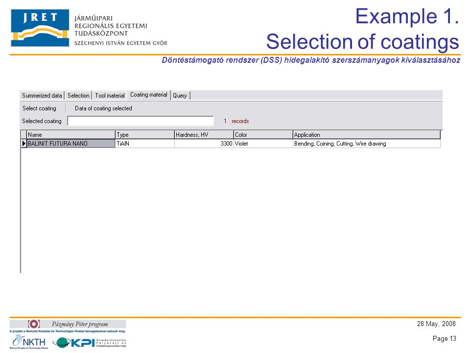 Döntéstámogató rendszer (DSS) hidegalakító szerszámanyagok kiválasztásához 28 May, 2008 Page 13 Example 1.