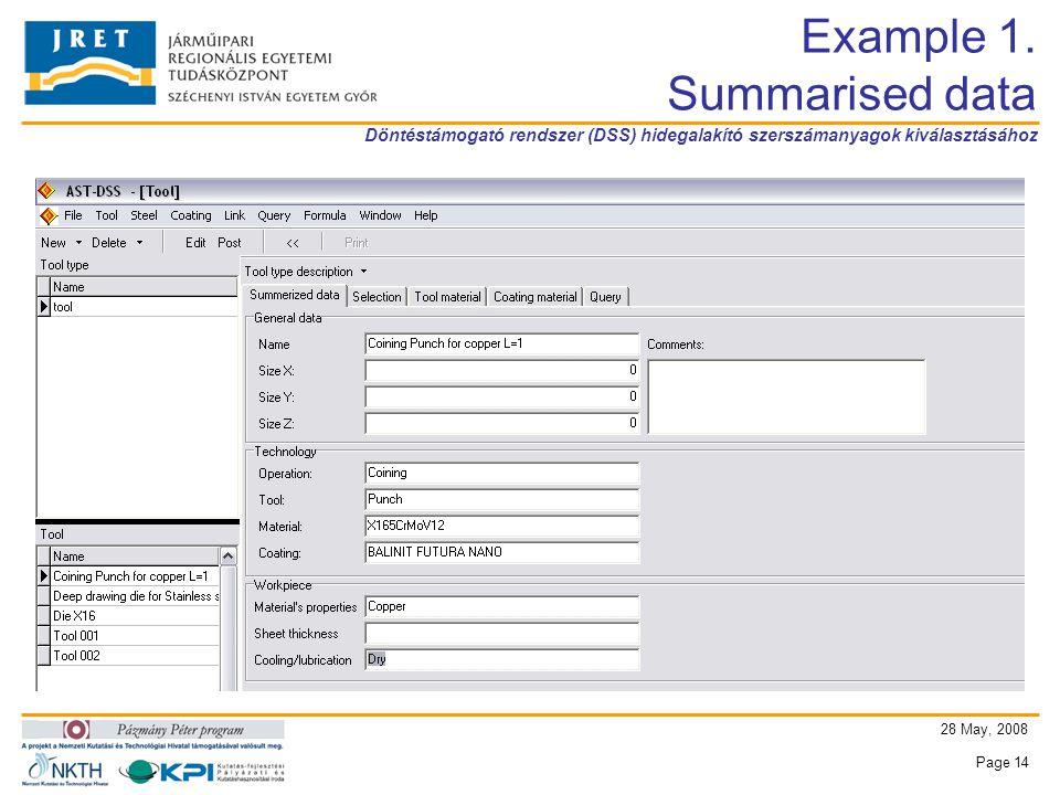 Döntéstámogató rendszer (DSS) hidegalakító szerszámanyagok kiválasztásához 28 May, 2008 Page 14 Example 1.