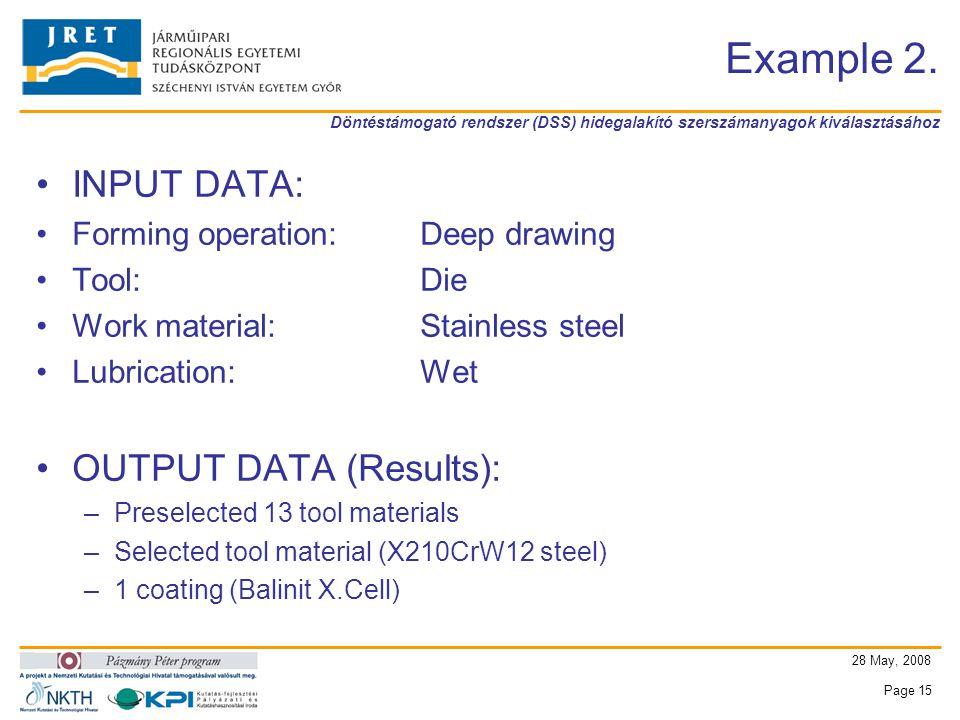 Döntéstámogató rendszer (DSS) hidegalakító szerszámanyagok kiválasztásához 28 May, 2008 Page 15 Example 2.