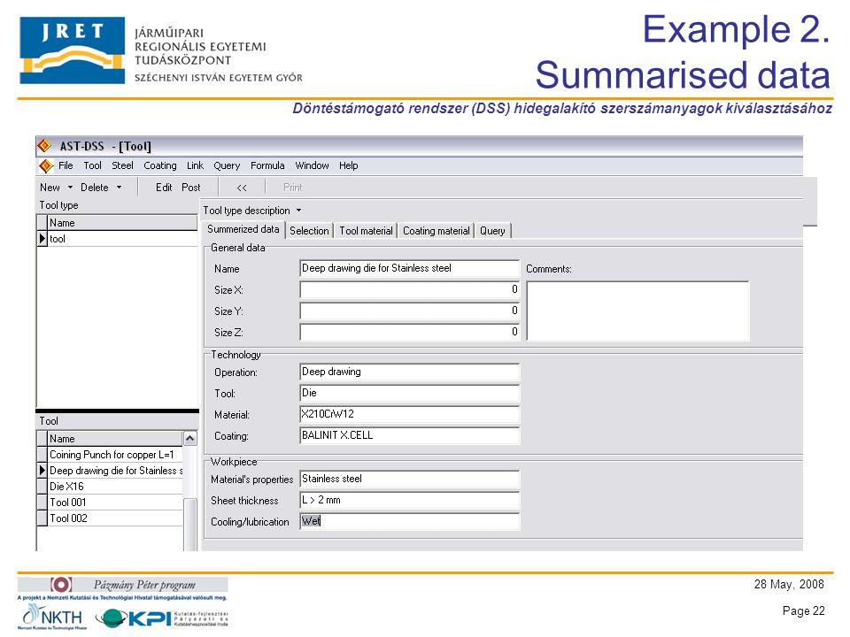 Döntéstámogató rendszer (DSS) hidegalakító szerszámanyagok kiválasztásához 28 May, 2008 Page 22 Example 2.