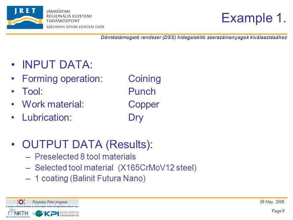 Döntéstámogató rendszer (DSS) hidegalakító szerszámanyagok kiválasztásához 28 May, 2008 Page 8 Example 1.
