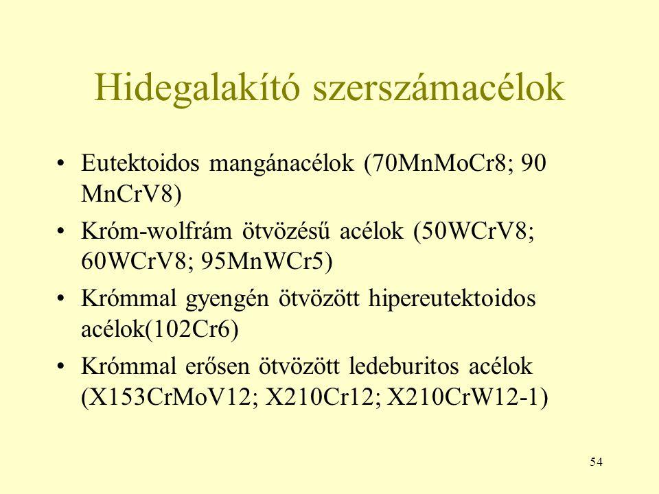 54 Hidegalakító szerszámacélok Eutektoidos mangánacélok (70MnMoCr8; 90 MnCrV8) Króm-wolfrám ötvözésű acélok (50WCrV8; 60WCrV8; 95MnWCr5) Krómmal gyeng