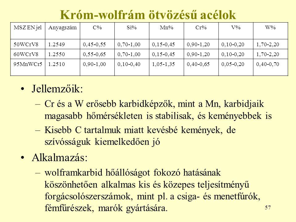 57 Króm-wolfrám ötvözésű acélok Jellemzőik: –Cr és a W erősebb karbidképzők, mint a Mn, karbidjaik magasabb hőmérsékleten is stabilisak, és keményebbe
