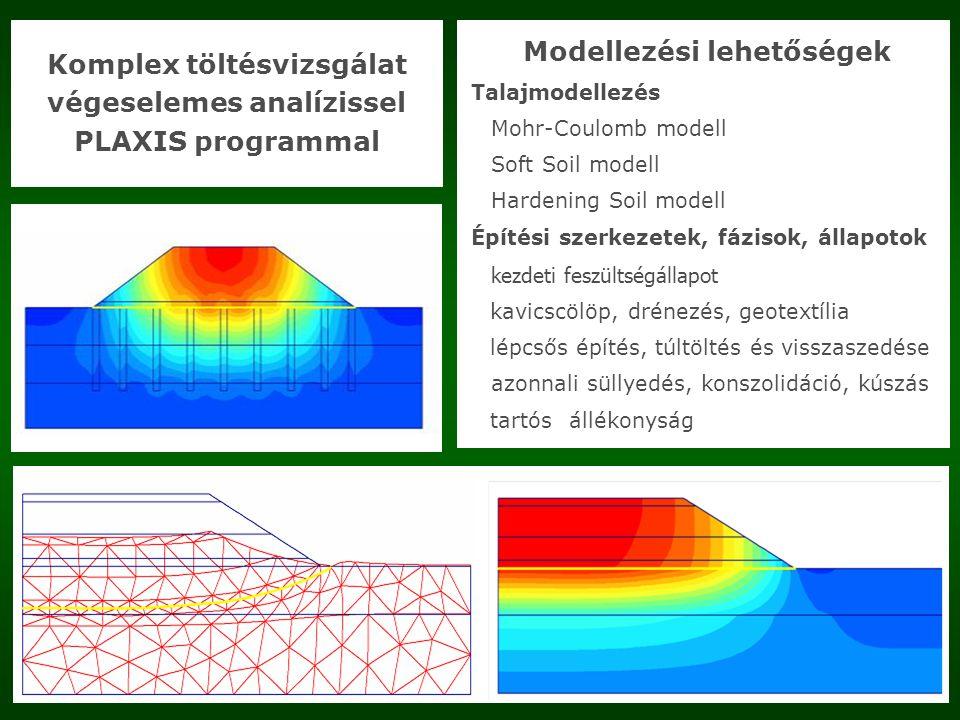 Komplex töltésvizsgálat végeselemes analízissel PLAXIS programmal Modellezési lehetőségek Talajmodellezés Mohr-Coulomb modell Soft Soil modell Hardening Soil modell Építési szerkezetek, fázisok, állapotok kezdeti feszültségállapot kavicscölöp, drénezés, geotextília lépcsős építés, túltöltés és visszaszedése azonnali süllyedés, konszolidáció, kúszás tartósállékonyság