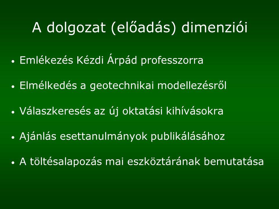 A dolgozat (előadás) dimenziói Emlékezés Kézdi Árpád professzorra Elmélkedés a geotechnikai modellezésről Válaszkeresés az új oktatási kihívásokra Ajánlás esettanulmányok publikálásához A töltésalapozás mai eszköztárának bemutatása