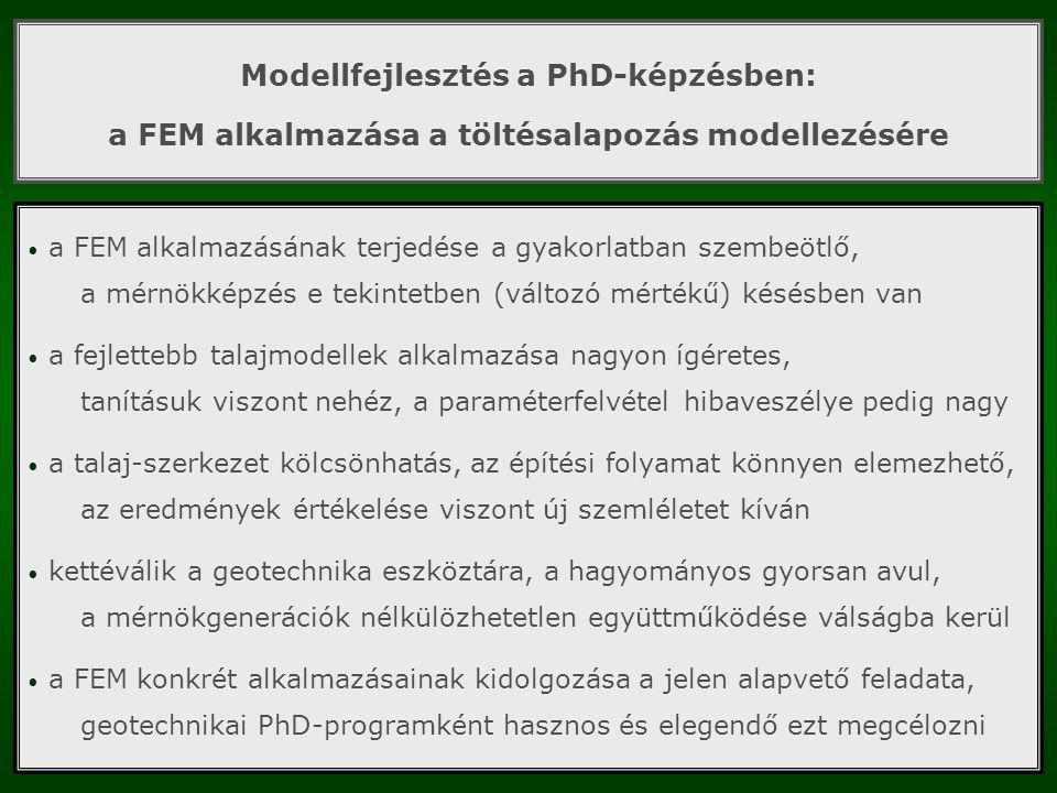 Modellfejlesztés a PhD-képzésben: a FEM alkalmazása a töltésalapozás modellezésére a FEM alkalmazásának terjedése a gyakorlatban szembeötlő, a mérnökk