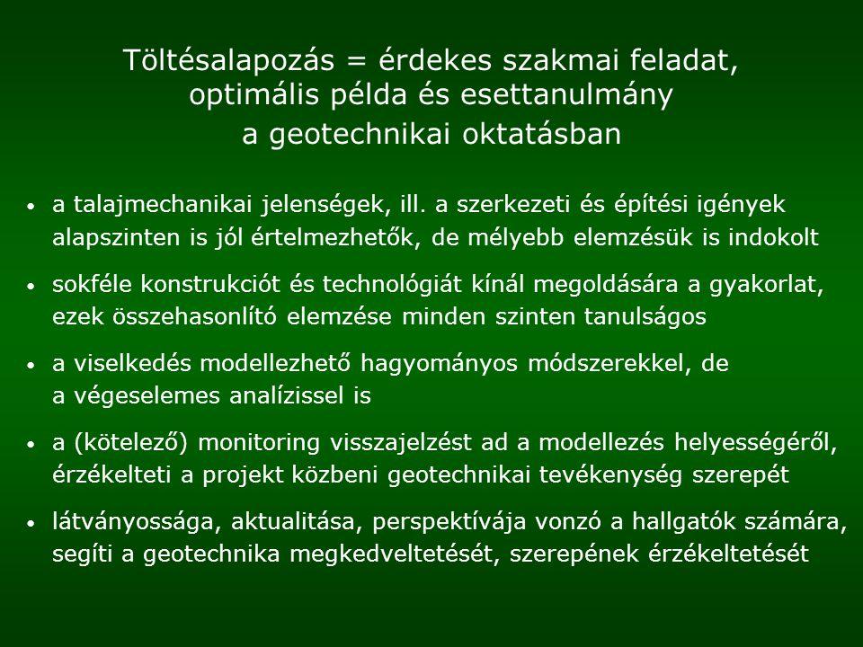 Töltésalapozás = érdekes szakmai feladat, optimális példa és esettanulmány a geotechnikai oktatásban a talajmechanikai jelenségek, ill. a szerkezeti é