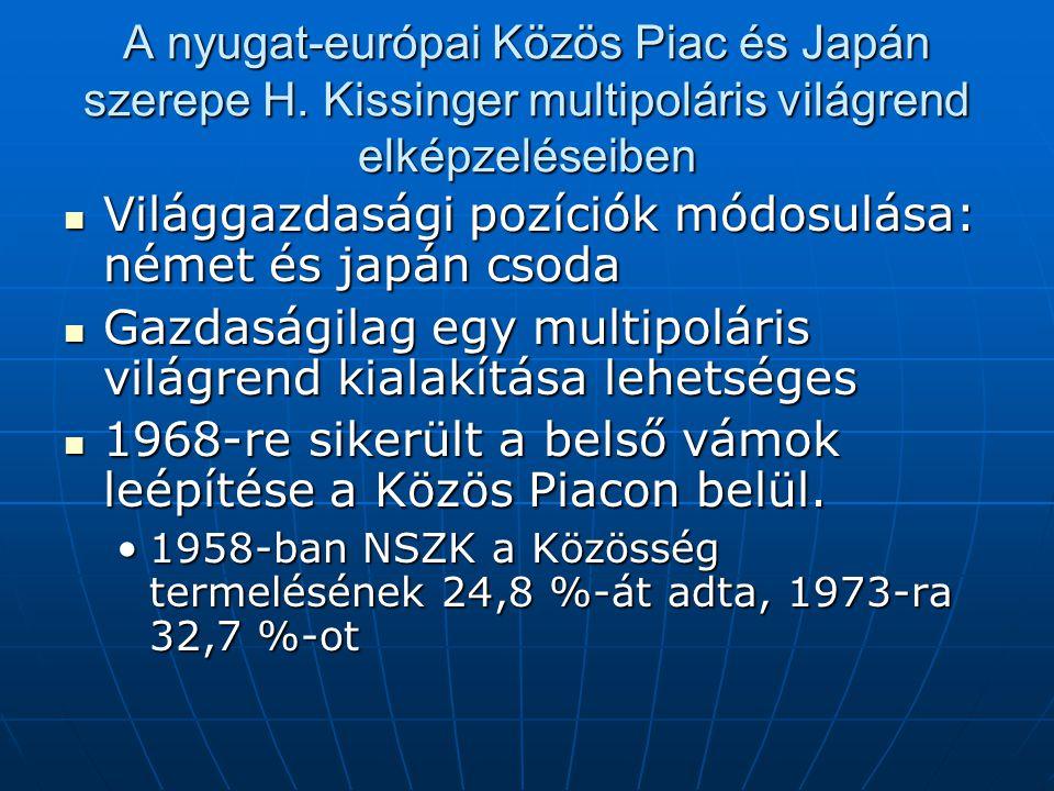 A nyugat-európai Közös Piac és Japán szerepe H. Kissinger multipoláris világrend elképzeléseiben Világgazdasági pozíciók módosulása: német és japán cs