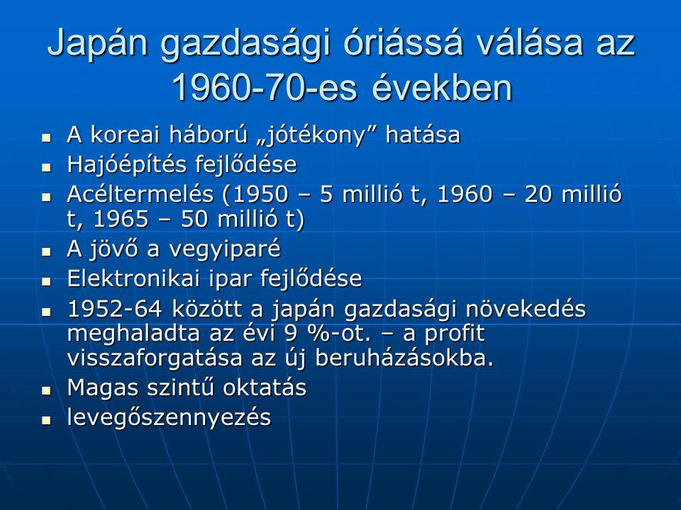 """Japán gazdasági óriássá válása az 1960-70-es években A koreai háború """"jótékony"""" hatása A koreai háború """"jótékony"""" hatása Hajóépítés fejlődése Hajóépít"""