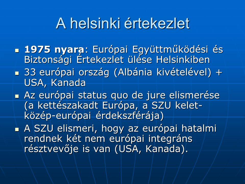 A helsinki értekezlet 1975 nyara: Európai Együttműködési és Biztonsági Értekezlet ülése Helsinkiben 1975 nyara: Európai Együttműködési és Biztonsági É