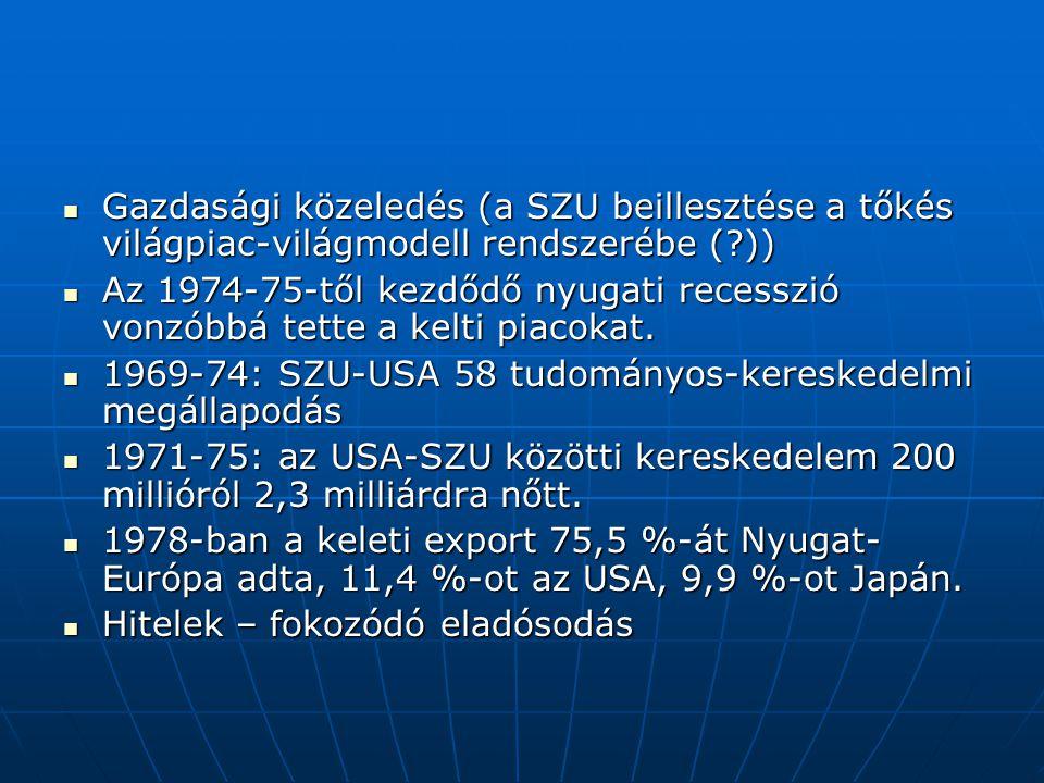 Gazdasági közeledés (a SZU beillesztése a tőkés világpiac-világmodell rendszerébe (?)) Gazdasági közeledés (a SZU beillesztése a tőkés világpiac-világ