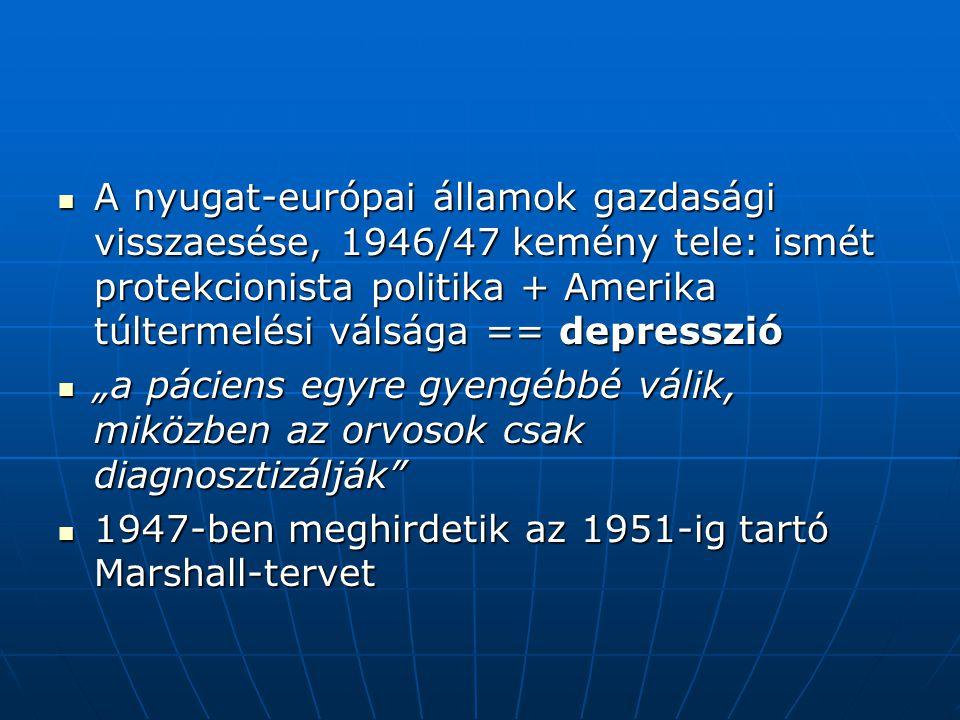 """A nyugat-európai államok gazdasági visszaesése, 1946/47 kemény tele: ismét protekcionista politika + Amerika túltermelési válsága == depresszió A nyugat-európai államok gazdasági visszaesése, 1946/47 kemény tele: ismét protekcionista politika + Amerika túltermelési válsága == depresszió """"a páciens egyre gyengébbé válik, miközben az orvosok csak diagnosztizálják """"a páciens egyre gyengébbé válik, miközben az orvosok csak diagnosztizálják 1947-ben meghirdetik az 1951-ig tartó Marshall-tervet 1947-ben meghirdetik az 1951-ig tartó Marshall-tervet"""