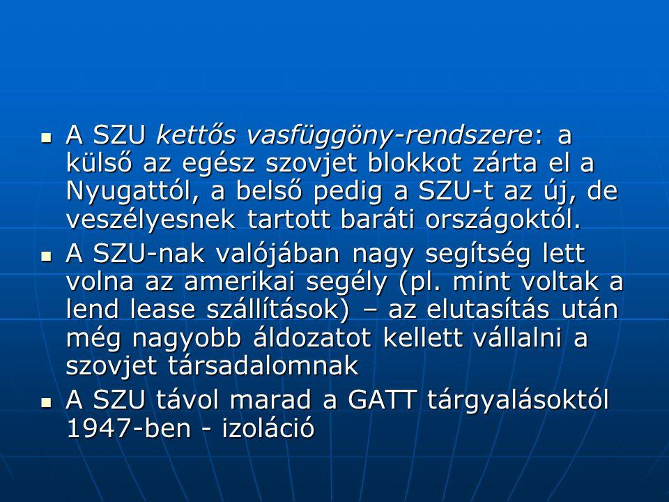 A SZU kettős vasfüggöny-rendszere: a külső az egész szovjet blokkot zárta el a Nyugattól, a belső pedig a SZU-t az új, de veszélyesnek tartott baráti országoktól.