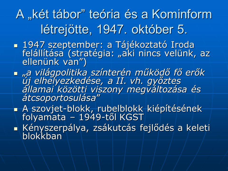 """A """"két tábor teória és a Kominform létrejötte, 1947."""