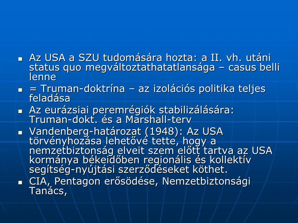 Az USA a SZU tudomására hozta: a II.vh.
