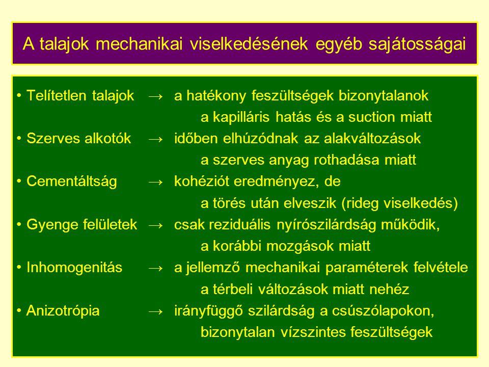 A talajok mechanikai viselkedésének egyéb sajátosságai Telítetlen talajok→a hatékony feszültségek bizonytalanok a kapilláris hatás és a suction miatt Szerves alkotók → időben elhúzódnak az alakváltozások a szerves anyag rothadása miatt Cementáltság → kohéziót eredményez, de a törés után elveszik (rideg viselkedés) Gyenge felületek→ csak reziduális nyírószilárdság működik, a korábbi mozgások miatt Inhomogenitás→a jellemző mechanikai paraméterek felvétele a térbeli változások miatt nehéz Anizotrópia→irányfüggő szilárdság a csúszólapokon, bizonytalan vízszintes feszültségek