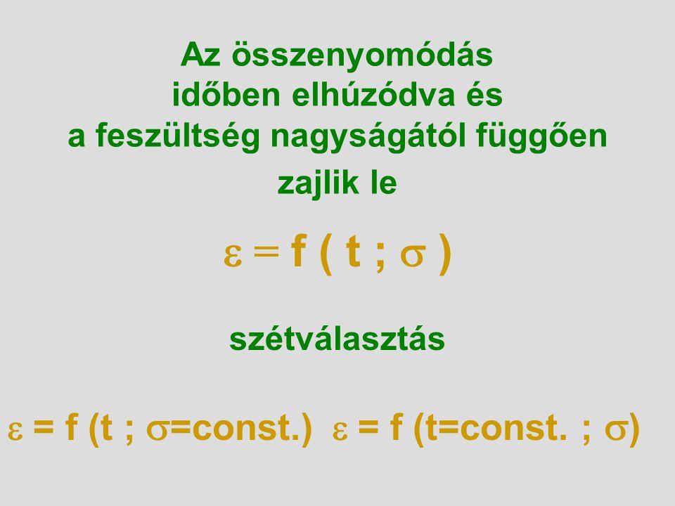 Az összenyomódás időben elhúzódva és a feszültség nagyságától függően zajlik le  = f ( t ;  ) szétválasztás  = f (t ;  =const.)  = f (t=const