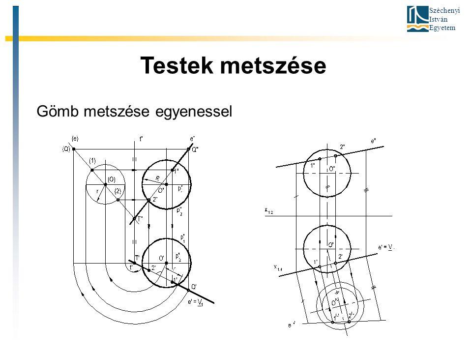 Széchenyi István Egyetem Testek metszése Gömb metszése egyenessel