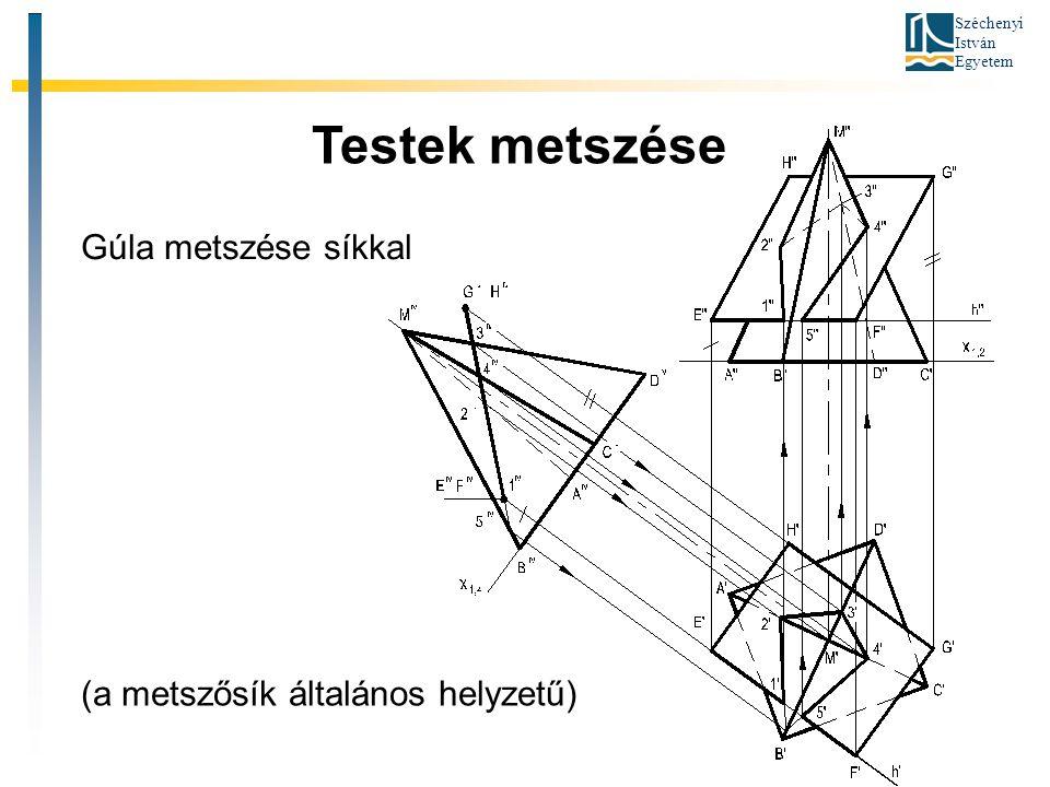 Széchenyi István Egyetem Testek metszése Gúla metszése síkkal (a metszősík általános helyzetű)