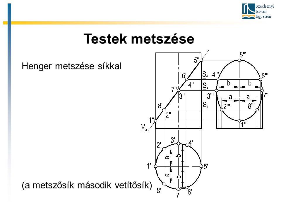 Széchenyi István Egyetem Testek metszése Henger metszése síkkal (a metszősík második vetítősík)