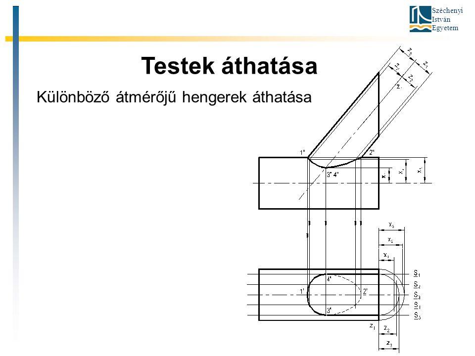 Széchenyi István Egyetem Testek áthatása Különböző átmérőjű hengerek áthatása