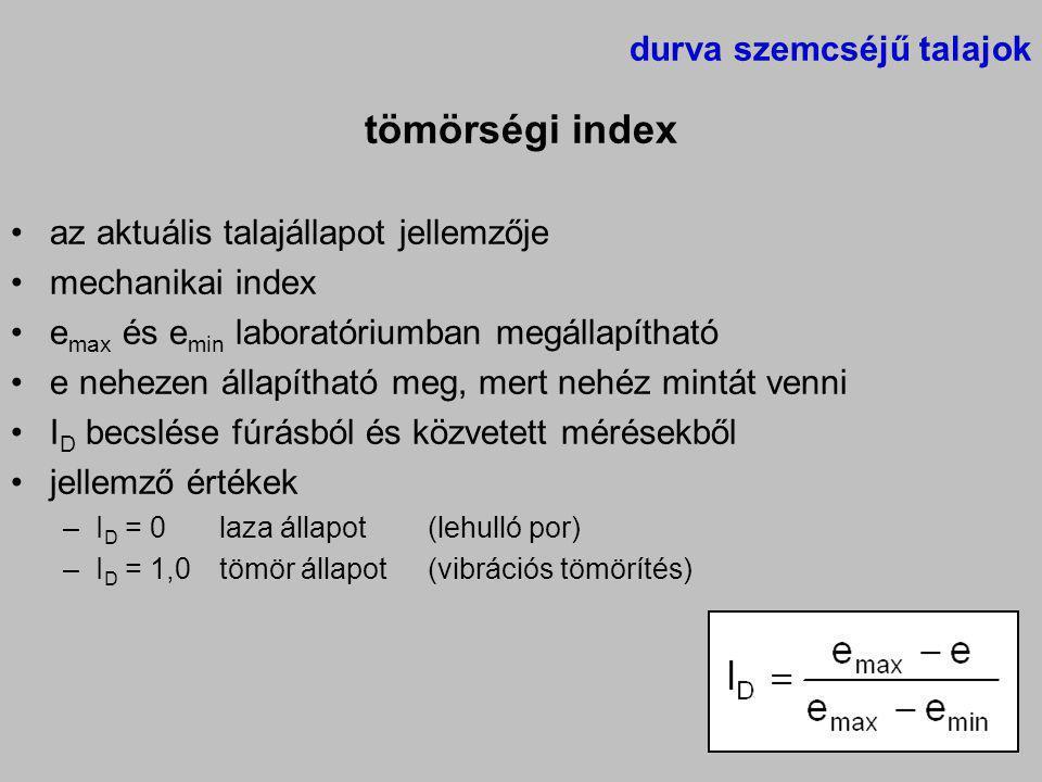 durva szemcséjű talajok tömörségi index az aktuális talajállapot jellemzője mechanikai index e max és e min laboratóriumban megállapítható e nehezen á