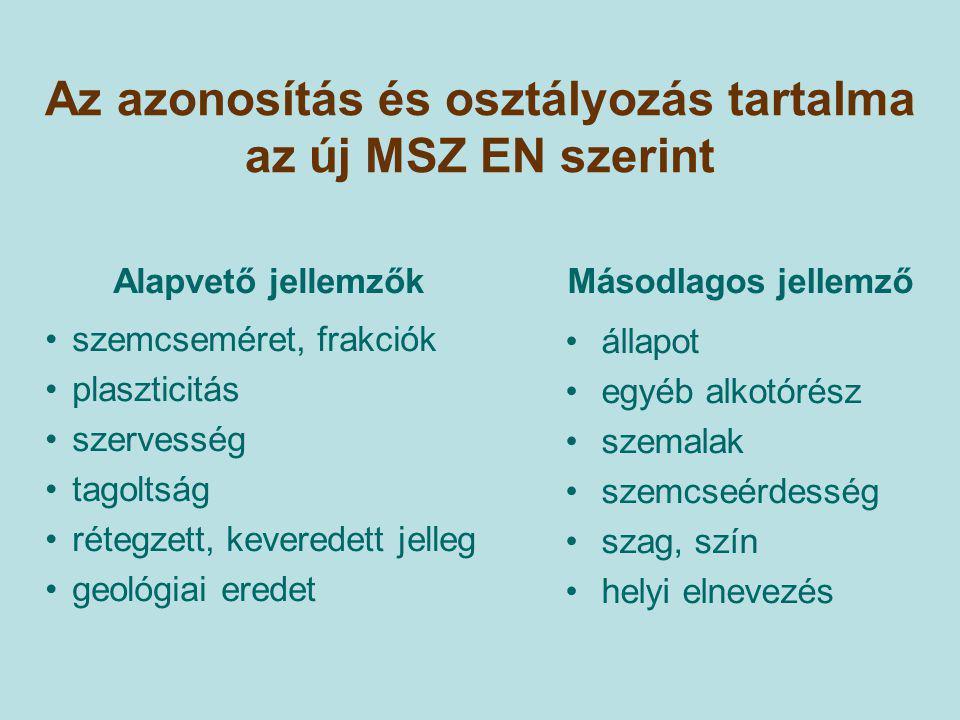 Az azonosítás és osztályozás tartalma az új MSZ EN szerint Másodlagos jellemző állapot egyéb alkotórész szemalak szemcseérdesség szag, szín helyi elne