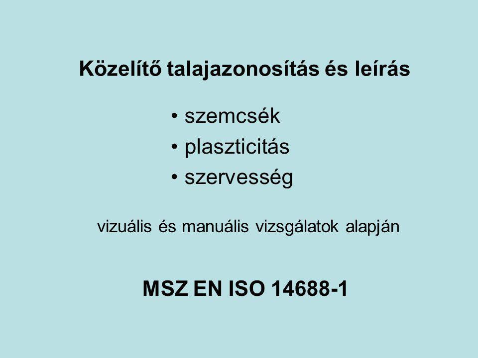 Közelítő talajazonosítás és leírás MSZ EN ISO 14688-1 vizuális és manuális vizsgálatok alapján szemcsék plaszticitás szervesség