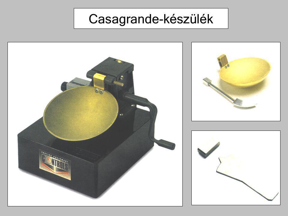 Összetétel, alapvető viselkedés megállapítása, jellemzése MSZ EN ISO 14688-1 főfrakció – mellékfrakció –nagyon durva és durva szemcséjű talajok a tömegarány a meghatározó –finom és vegyes összetételű talajok esetén a finom szemcsék plasztikus viselkedése meghatározó megnevezési példák homokos kavics (saGr)durva homokos apró kavics (csaFGr) közepes homokos iszap (msaSi)aprókavicsos durva homok (fgrCSa) iszapos finom homok (siFSa)aprókavicsos, durva homokos iszap (fgrcsaSi) közepes homokos agyag (msaCl)kissé kavicsos agyag(grCl) kavics/homok (Gr/Sa) finom/közepes homok (FSa/MSa) közbetelepült homokot tartalmazó kavicsos agyag (grClsa)