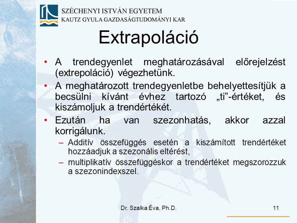 Dr. Szalka Éva, Ph.D.11 Extrapoláció A trendegyenlet meghatározásával előrejelzést (extrepoláció) végezhetünk. A meghatározott trendegyenletbe behelye
