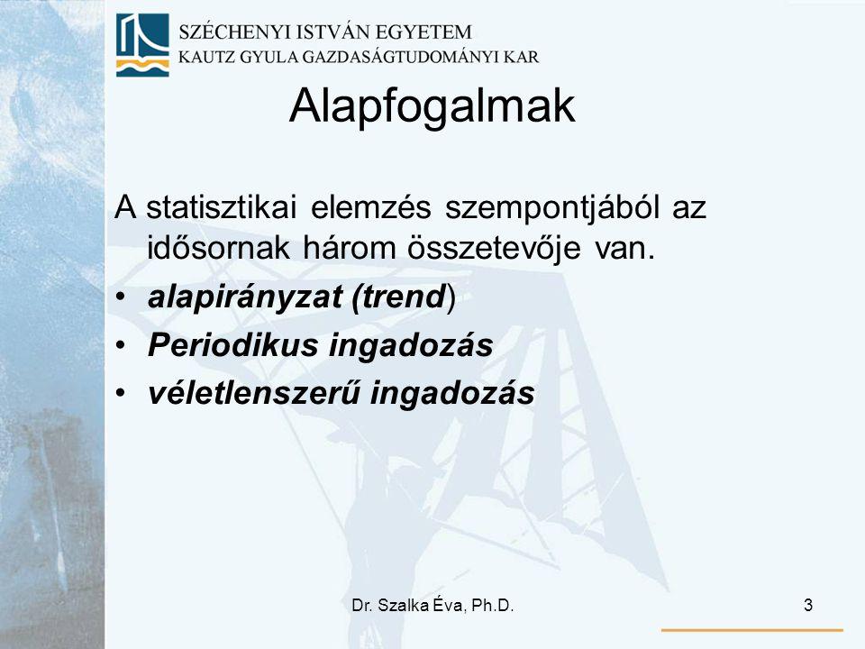 Dr. Szalka Éva, Ph.D.3 Alapfogalmak A statisztikai elemzés szempontjából az idősornak három összetevője van. alapirányzat (trend) Periodikus ingadozás