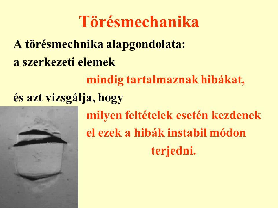 Törésmechanika A törésmechnika alapgondolata: a szerkezeti elemek mindig tartalmaznak hibákat, és azt vizsgálja, hogy milyen feltételek esetén kezdene
