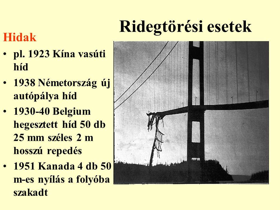 Ridegtörési esetek Hidak pl. 1923 Kína vasúti híd 1938 Németország új autópálya híd 1930-40 Belgium hegesztett híd 50 db 25 mm széles 2 m hosszú reped