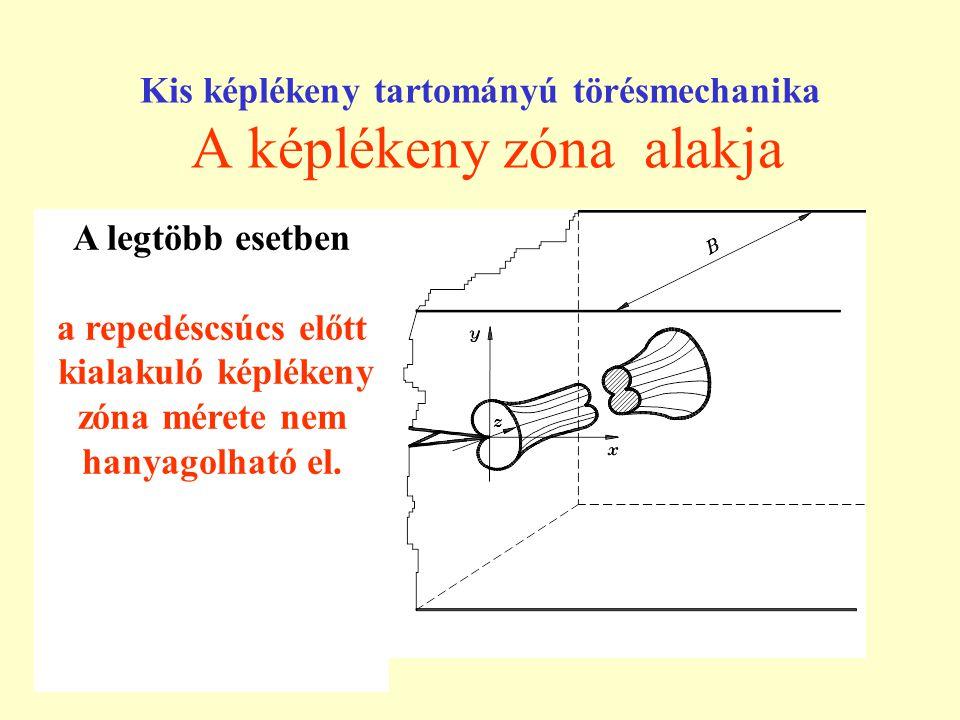 Kis képlékeny tartományú törésmechanika A képlékeny zóna alakja A legtöbb esetben a repedéscsúcs előtt kialakuló képlékeny zóna mérete nem hanyagolhat