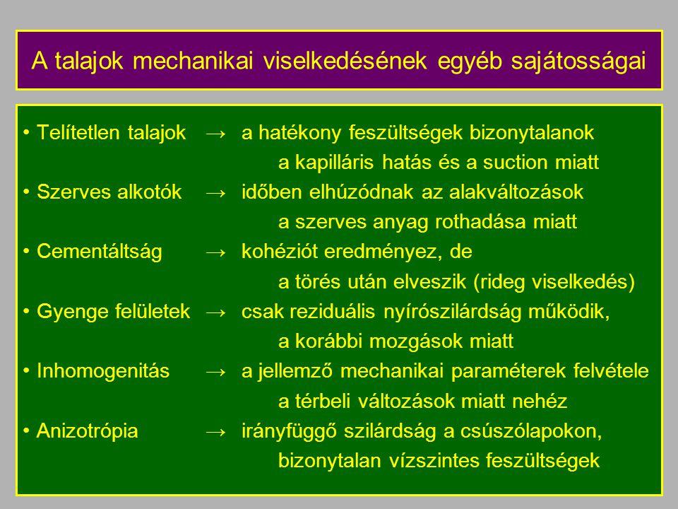A talajok mechanikai viselkedésének egyéb sajátosságai Telítetlen talajok→a hatékony feszültségek bizonytalanok a kapilláris hatás és a suction miatt