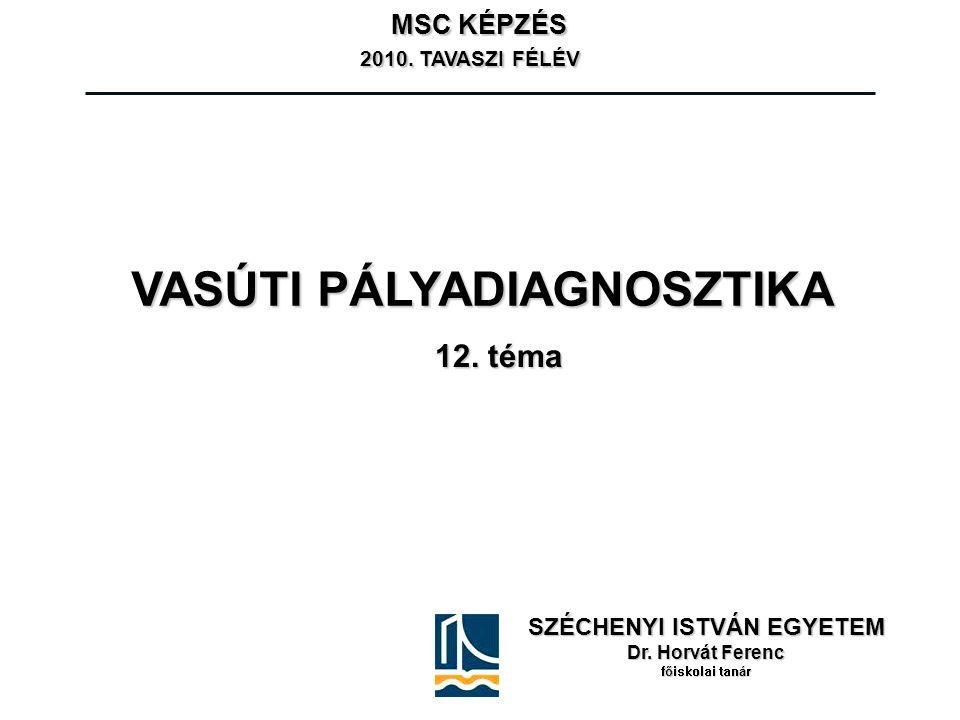 SZÉCHENYI ISTVÁN EGYETEM Dr. Horvát Ferenc főiskolai tanár MSC KÉPZÉS 2010. TAVASZI FÉLÉV 2010. TAVASZI FÉLÉV VASÚTI PÁLYADIAGNOSZTIKA 12. téma