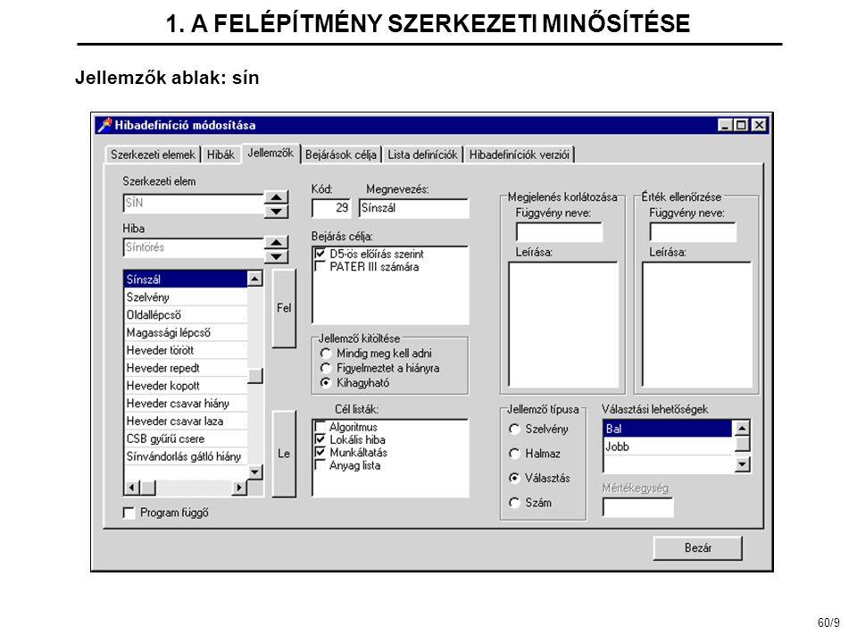 Jellemzők ablak: sín 1. A FELÉPÍTMÉNY SZERKEZETI MINŐSÍTÉSE 60/9