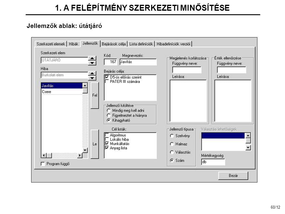 Jellemzők ablak: útátjáró 1. A FELÉPÍTMÉNY SZERKEZETI MINŐSÍTÉSE 60/12