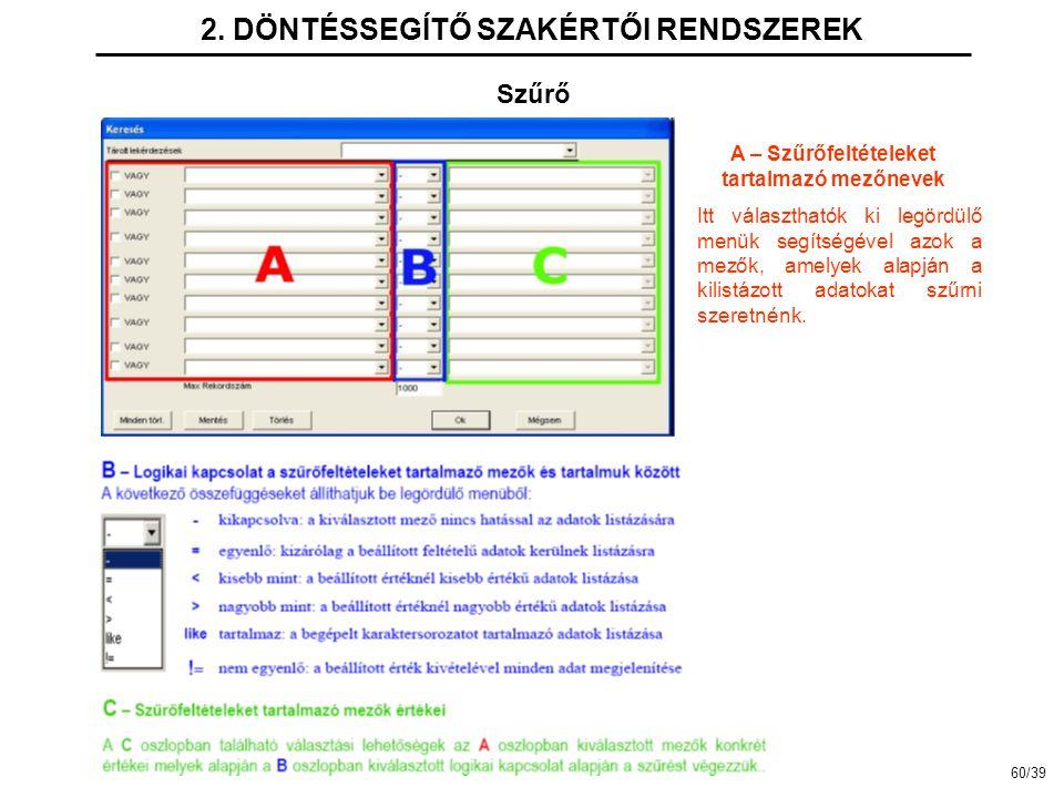 2. DÖNTÉSSEGÍTŐ SZAKÉRTŐI RENDSZEREK A – Szűrőfeltételeket tartalmazó mezőnevek Szűrő Itt választhatók ki legördülő menük segítségével azok a mezők, a