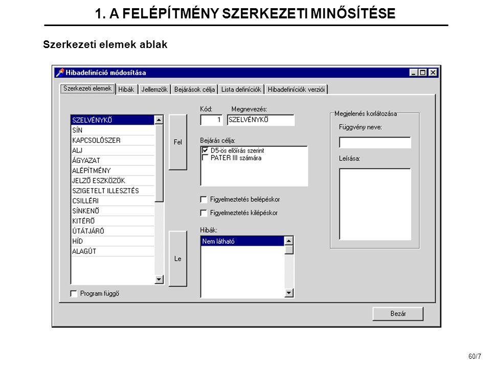 Szerkezeti elemek ablak 1. A FELÉPÍTMÉNY SZERKEZETI MINŐSÍTÉSE 60/7