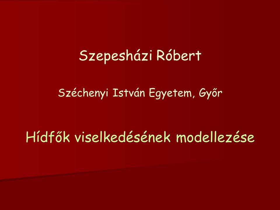 Szepesházi Róbert Széchenyi István Egyetem, Győr Hídfők viselkedésének modellezése