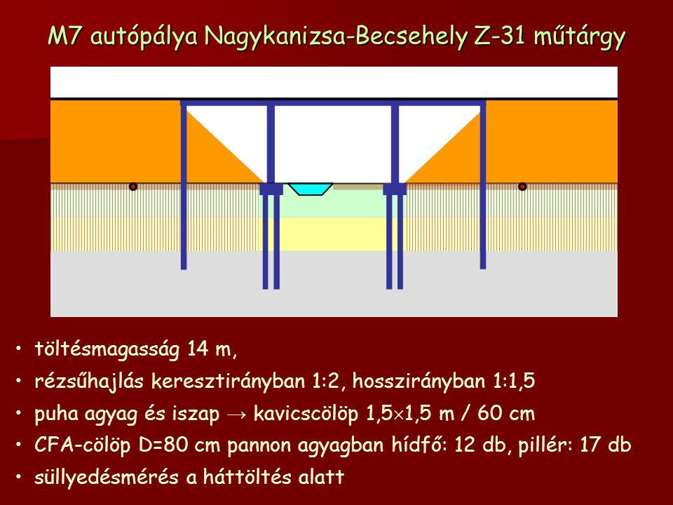 M7 autópálya Nagykanizsa-Becsehely Z-31 műtárgy töltésmagasság 14 m, rézsűhajlás keresztirányban 1:2, hosszirányban 1:1,5 puha agyag és iszap → kavicscölöp 1,5  1,5 m / 60 cm CFA-cölöp D=80 cm pannon agyagban hídfő: 12 db, pillér: 17 db süllyedésmérés a háttöltés alatt